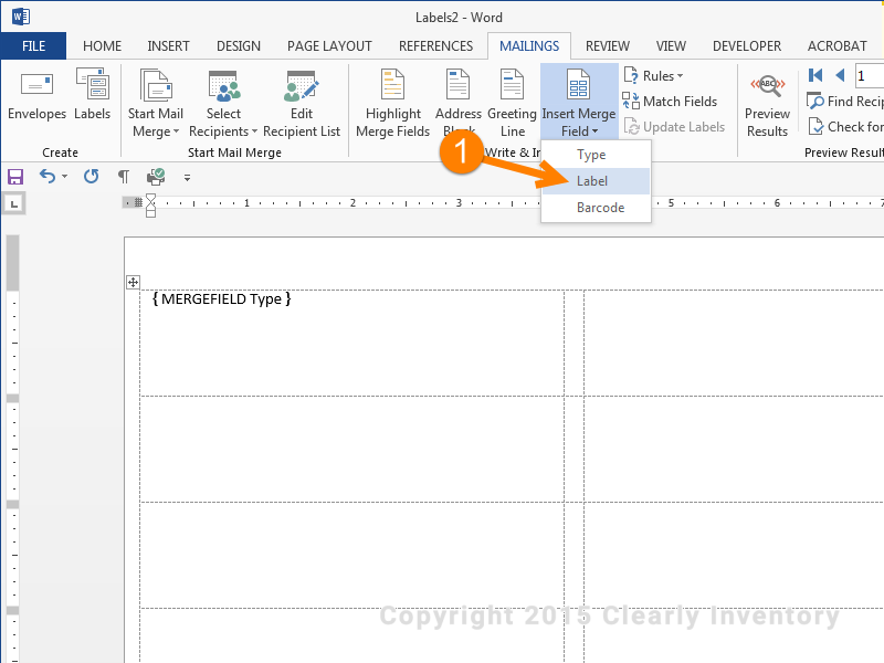 Click 'Insert Merge Field' and then click 'Label'