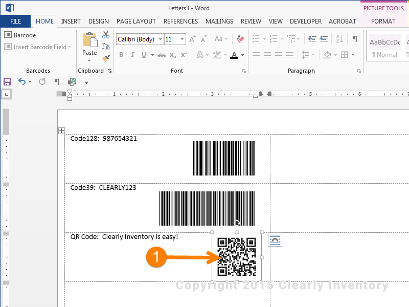 Move the other barcodes over to the right side as well.