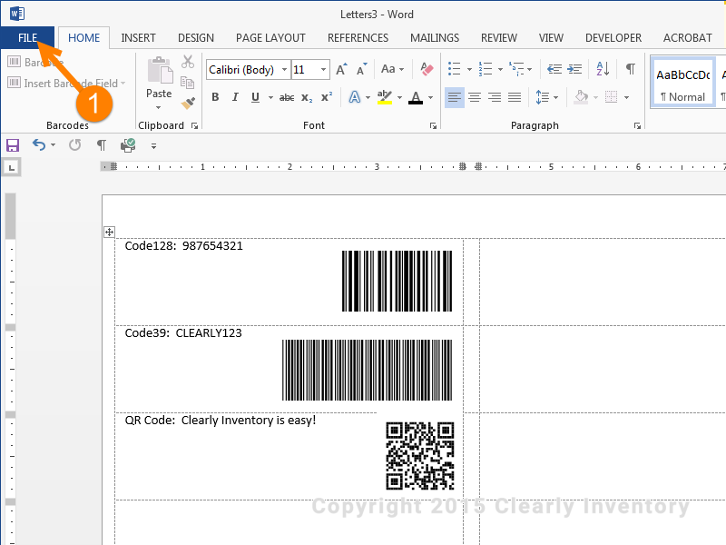 Click 'File' to print your barcodes.